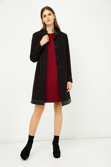 Black Coat with Pleather Detail