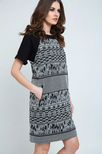 Black and White Short Sleeve Straight Dress