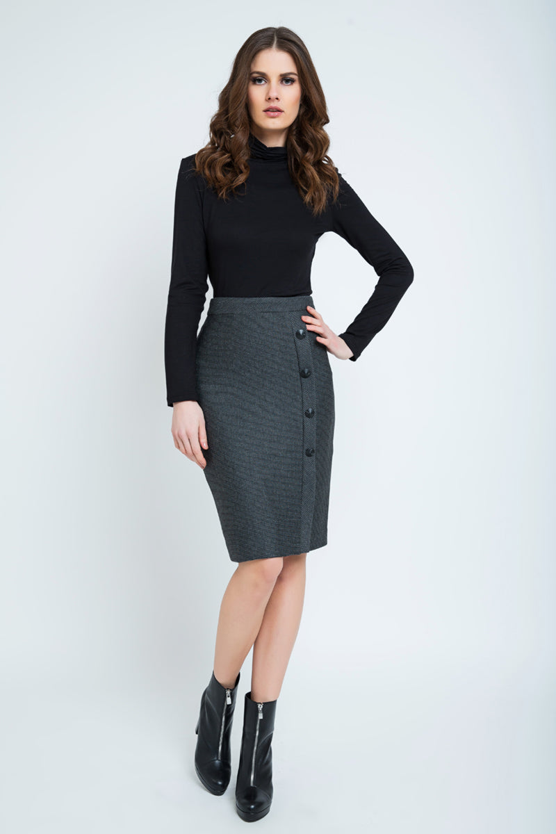 Elegant Stripes Sheath Pencil Skirt