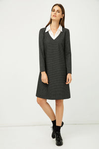 Shirt Collar Detail Dark Striped Grey Dress