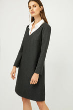 Load image into Gallery viewer, Shirt Collar Detail Dark Striped Grey Dress