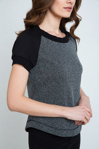 Short Sleeve Top with Rounded Hem