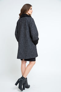 Button Coat with Cuff and Collar Detail