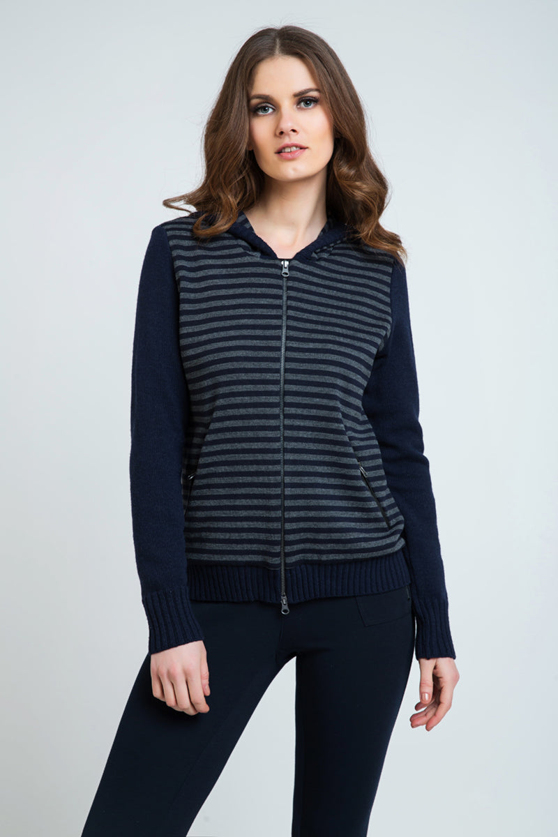 Hooded Striped Zip Jacket