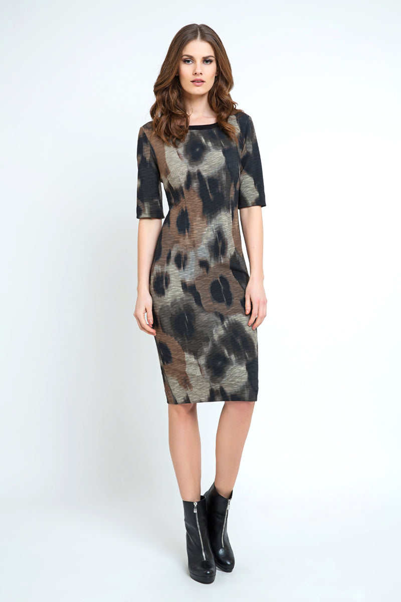 Fitted Print Midi Dress
