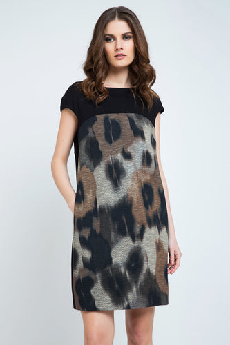Abstract Print Sack Dress with Pockets