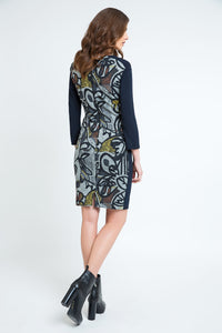 Floral Straight Dress with Solid Colour Sleeves