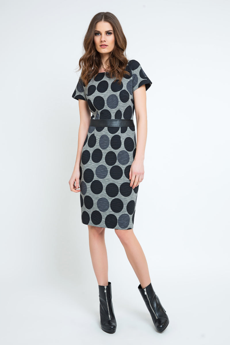 Straight Polka Dot Dress with Pleather Waistband
