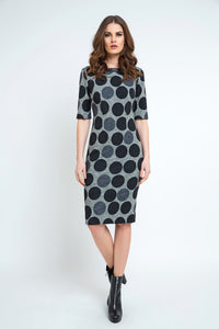 Fitted Polka Dot Midi Dress