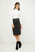Load image into Gallery viewer, Dark Grey High Waist Fitted Pencil Skirt