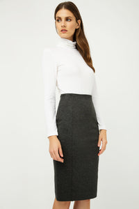 Dark Grey High Waist Fitted Pencil Skirt