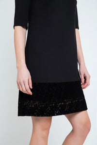 Black A Line Dress with Lace Detail