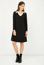 Load image into Gallery viewer, Shirt Collar Detail Black Striped Dress