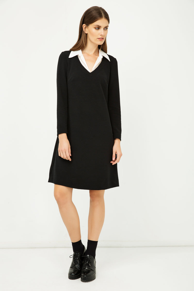 Shirt Collar Detail Black Striped Dress