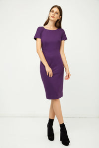 Aubergine Fitted Cap Sleeve Dress