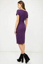 Load image into Gallery viewer, Aubergine Fitted Cap Sleeve Dress