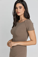 Load image into Gallery viewer, Fitted Taupe Cap Sleeve Dress Conquista Fashion