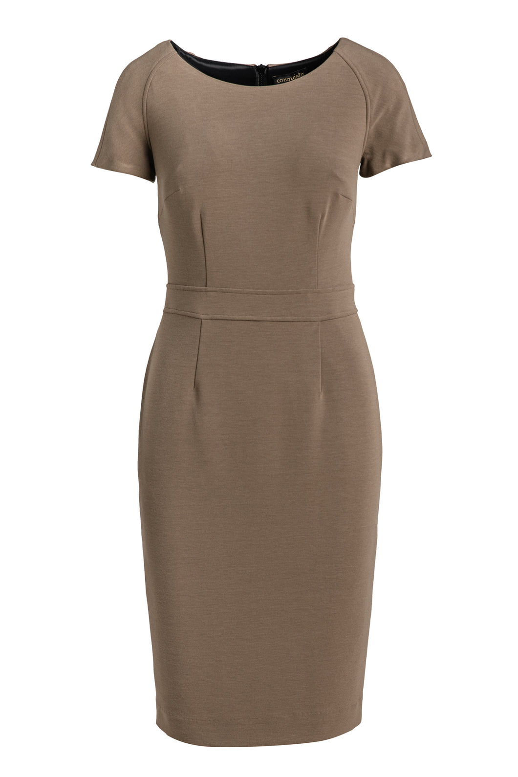 Fitted Taupe Cap Sleeve Dress Conquista Fashion