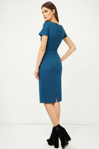 Petrol Fitted Cap Sleeve Dress