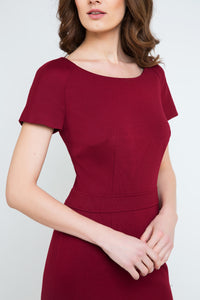 Burgundy Fitted Cap Sleeve Dress