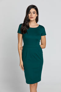 Fitted Emerald Cap Sleeve Dress Conquista Fashion
