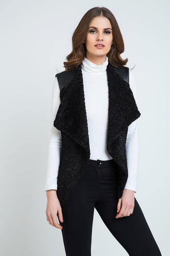 Astrakhan Winter Vest with Pleather Detail