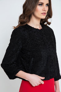 Black Astrakhan Jacket with Pleather Detail