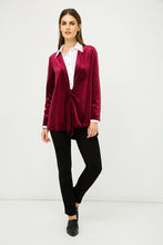 Load image into Gallery viewer, Burgundy Velvet Cardigan with Ties