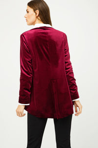 Burgundy Velvet Cardigan with Ties
