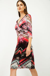 Print Jersey Faux Wrap Dress in Red