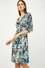 Load image into Gallery viewer, Print Jersey Faux Wrap Dress in Dark Navy