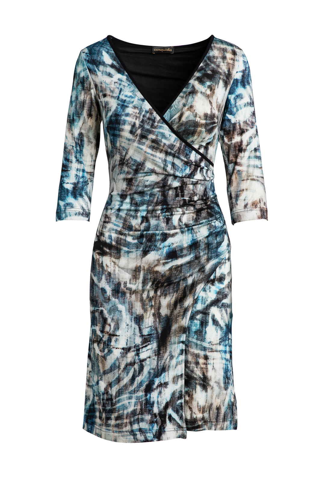 Print Jersey Faux Wrap Dress in Dark Navy