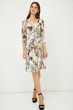 Load image into Gallery viewer, Print Jersey Faux Wrap Dress in Beige