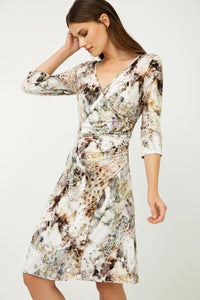 Print Jersey Faux Wrap Dress in Beige