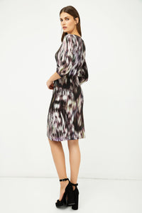 Print Jersey Faux Wrap Dress