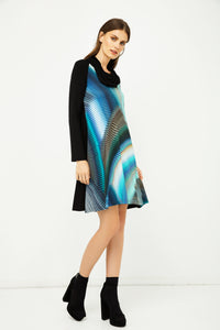 A Line Print Dress with Turtle Neck in Petrol