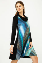 Load image into Gallery viewer, A Line Print Dress with Turtle Neck in Petrol