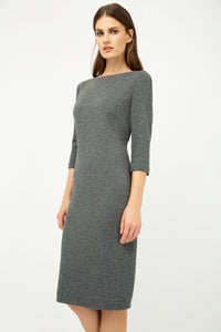 Grey Fitted Knit Dress