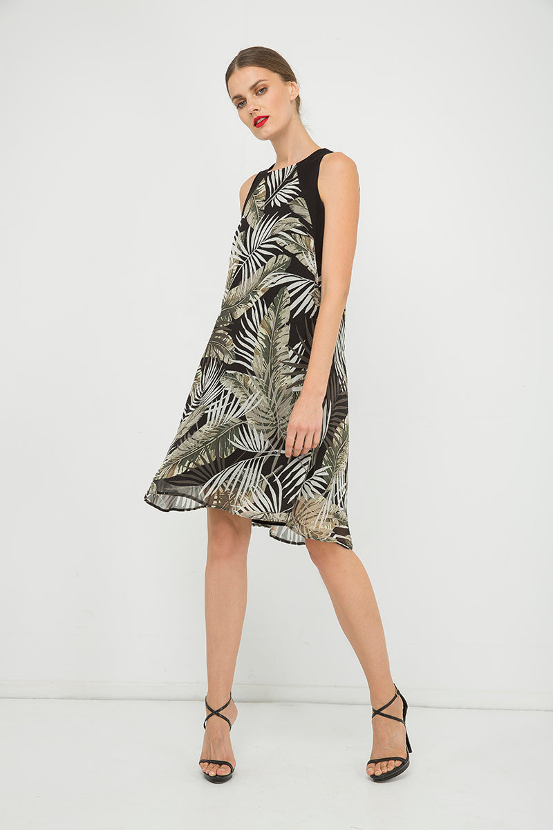 Sleeveless A Line Print Chiffon Dress
