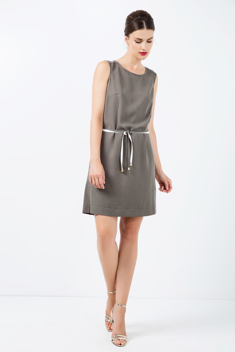 Khaki Colour Straight Dress with Belt