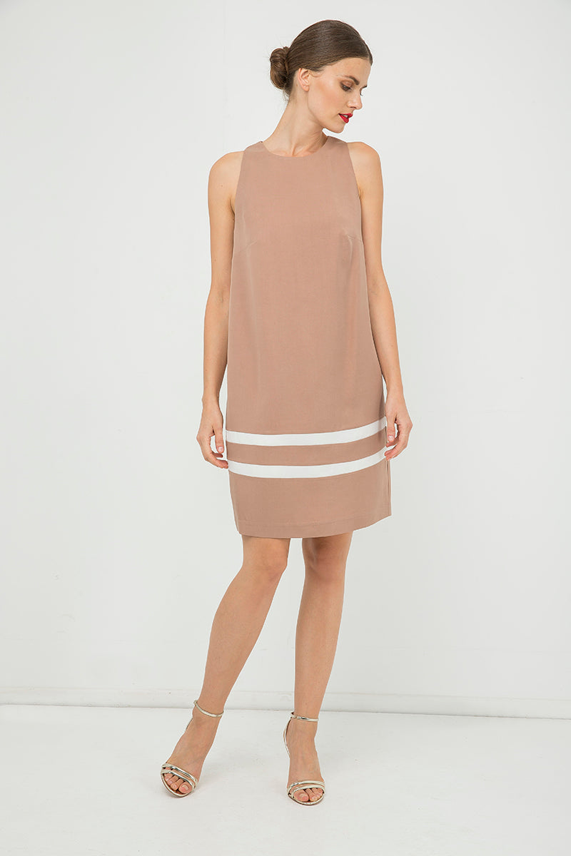 Solid Colour Sleeveless Dress with White Stripe Detail
