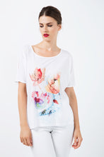 Load image into Gallery viewer, White Jersey Top with Multicoloured Print