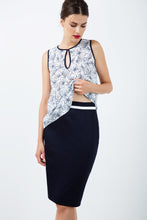 Load image into Gallery viewer, Fitted Pencil Skirt with Contrast White Stripe