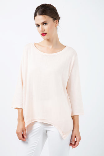 Knit Cotton Top with an Uneven Hemline