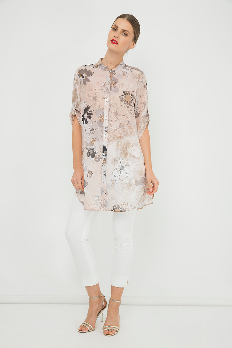 Long Print Shirt with Side Slits