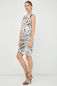 Print Sleeveless dress with Contrast Detail
