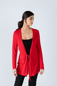 Red Open Front Linen Cardigan