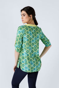 Print Poplin Top with Yellow Trim