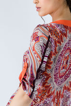 Load image into Gallery viewer, Print Poplin Top with Orange Trim