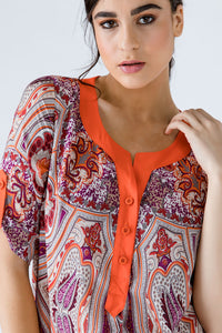 Print Poplin Top with Orange Trim